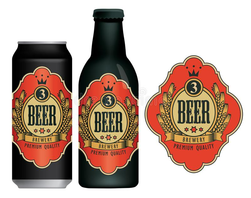Vector beer label on beer can and bottle. Vector beer label with coat of arms, wreath of wheat and ribbon in figured frame on a red background in retro style royalty free illustration