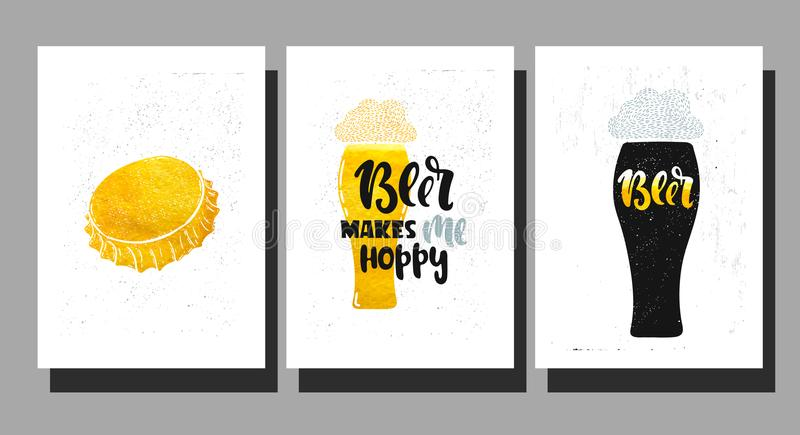 Vector beer makes. Vector hand drawn illustration. Set poster for the bar. Beer makes me hoppy! Lettering stock illustration