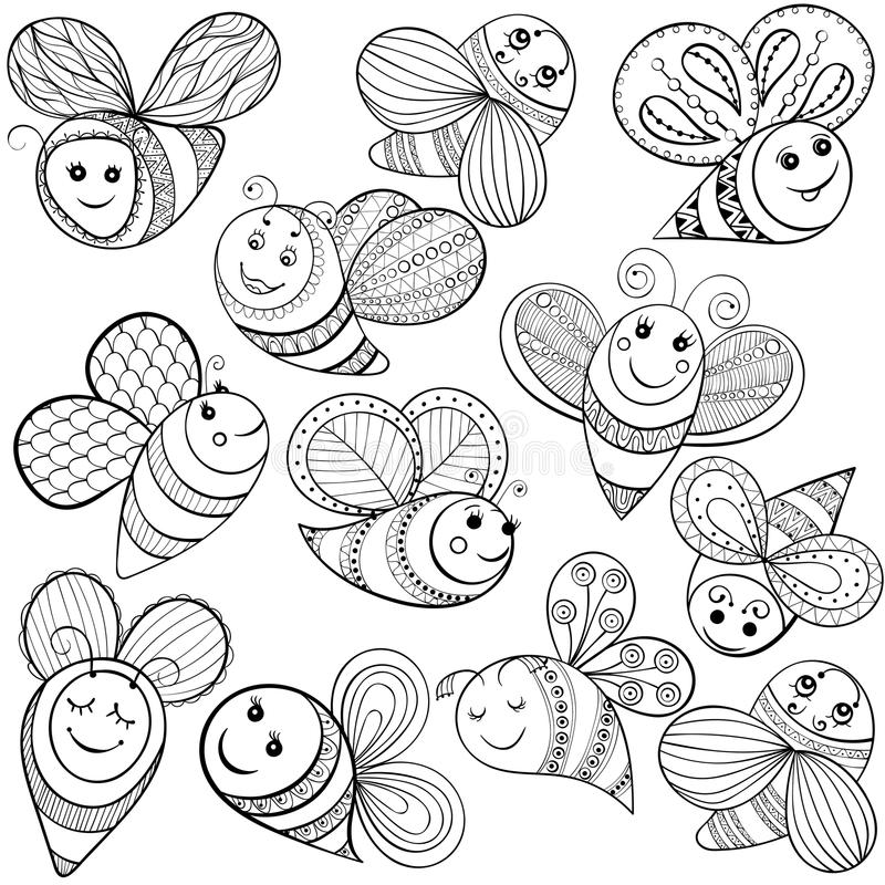 Vector Bees For Adult Coloring Page Hand Drawn Funny
