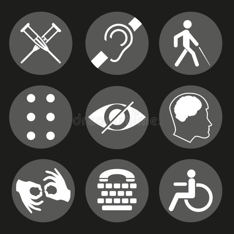 Vector behinderte Zeichen mit taubem, stumm, stumm, blind, Blindenschrift-Guss, Geisteskrankheit stock abbildung