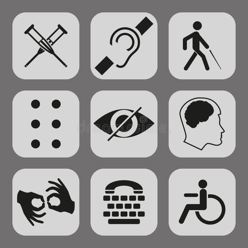 Vector behinderte Zeichen mit taubem, stumm, stumm, blind, Blindenschrift-Guss, Geisteskrankheit vektor abbildung