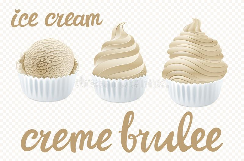 Vector beige Set of Ice cream scoops poster design with creme brulee vanilla character vector illustration