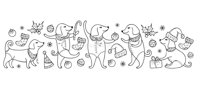 Vector a beira com o cão feliz do esboço no preto isolado no fundo branco Símbolo do ano novo chinês 2018 no estilo do contorno ilustração do vetor