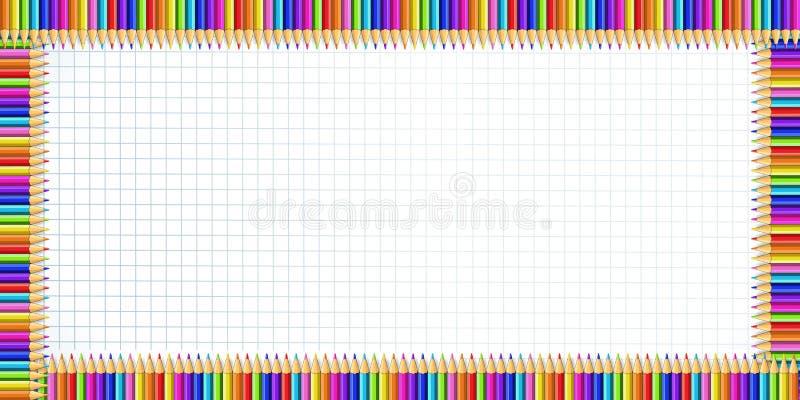 Vector a beira do retângulo feita de lápis coloridos no fundo da folha do caderno ilustração stock