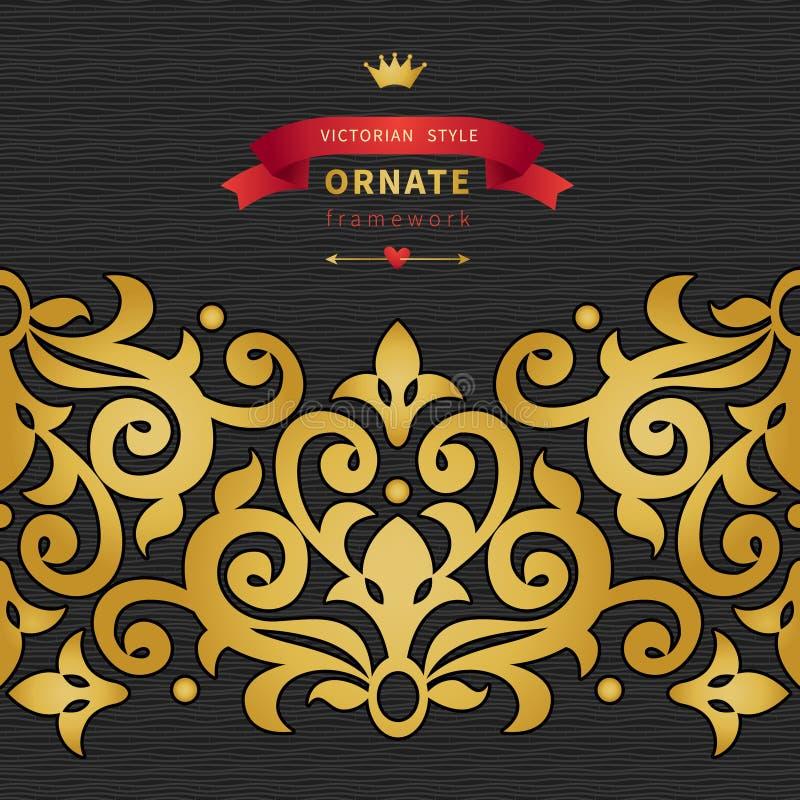 Vector a beira sem emenda no estilo vitoriano com etiqueta dos modernos ilustração royalty free