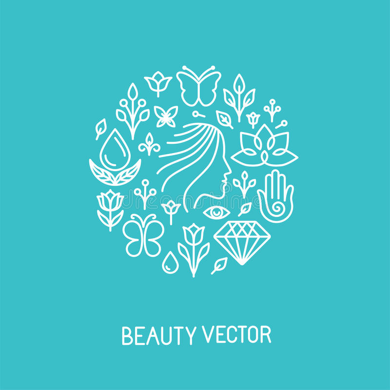 Vector a beleza e a linha logotipo e sinal dos termas ilustração do vetor