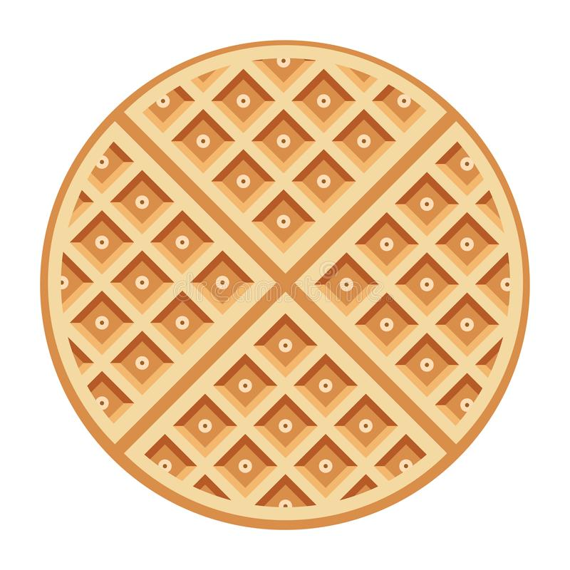 Vector belgium round waffle. Vector breakfast waffles isolated on white background. belgium round waffle as sweet delicious food concept. top view royalty free illustration