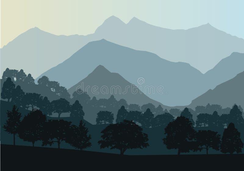 Vector Berge und Waldlandschaft früh in einem Tageslicht Schöne geometrische Illustration vektor abbildung