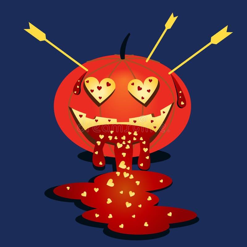 Vector beschikbaar Halloween pumpkin Pompoen in liefde Halloween-beeldverhaalsticker Vlakke feestelijke illustratie De Dag en Hal royalty-vrije illustratie