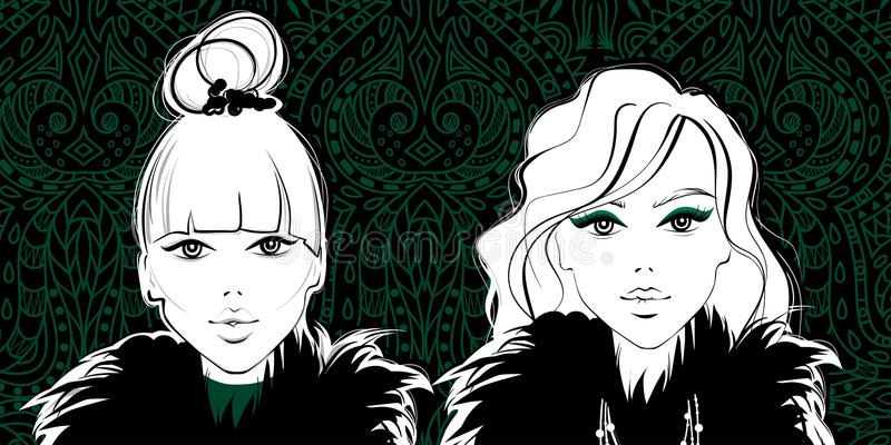 Vector beschikbare manier girls Het gezicht van de vrouw Mooie dames Leuk en u royalty-vrije illustratie