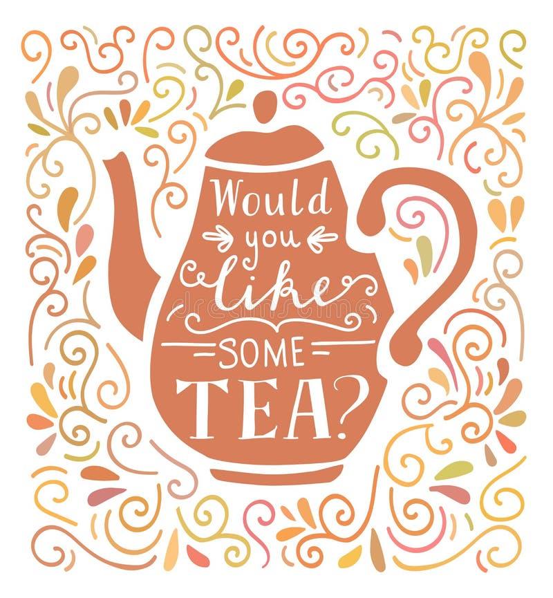 Vector Beschriftungsillustration mit Tee in den Pasterfarben lizenzfreie abbildung