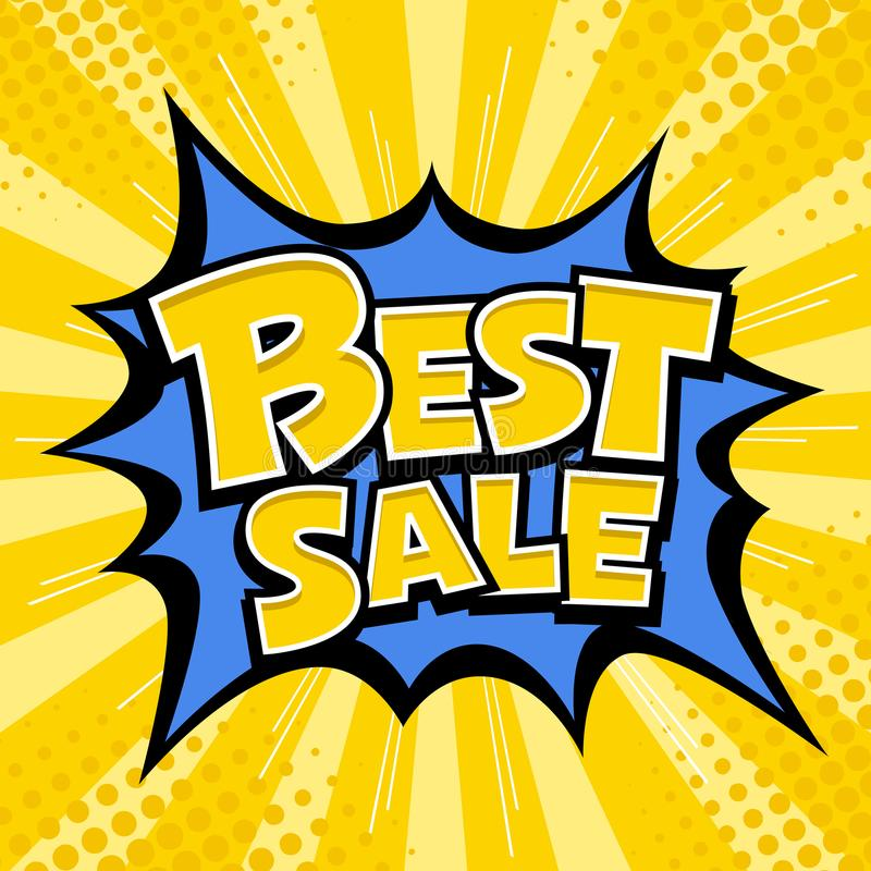 Vector Best sale banner yellow message blue star. And yellow template design background. vector illustration stock illustration