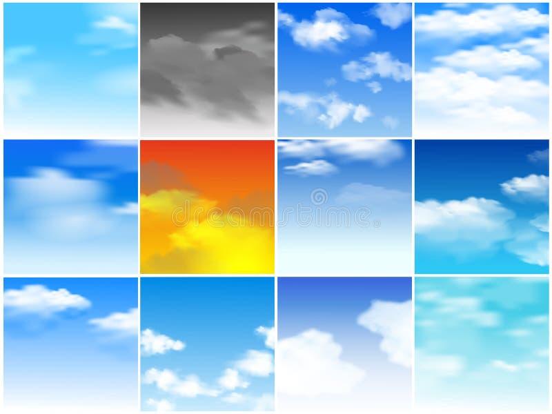 Vector bewolkte achtergrond van het hemel de naadloze patroon en de blauwe reeks van de het behangillustratie van de horizonhemel stock illustratie