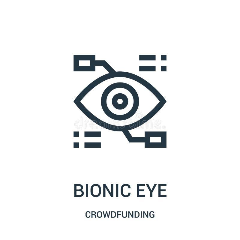 vector biónico del icono del ojo de la colección crowdfunding Línea fina ejemplo biónico del vector del icono del esquema del ojo stock de ilustración