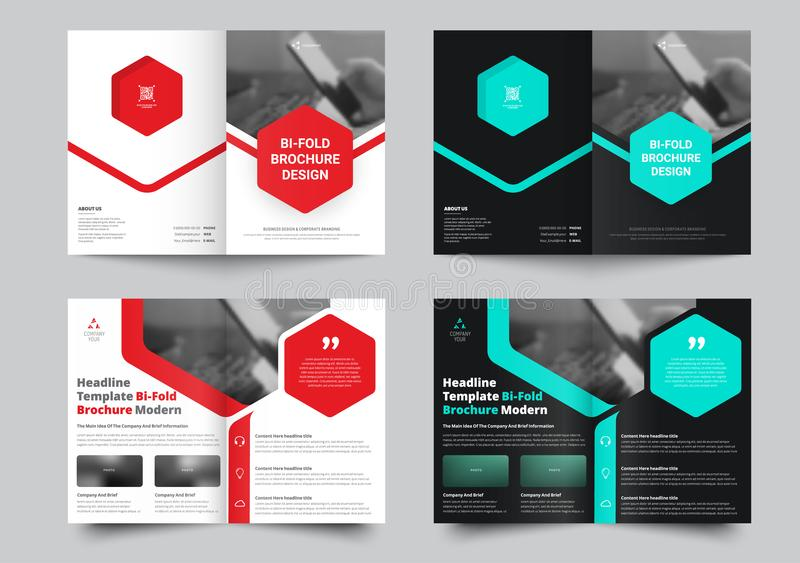 Vector bi-vouwenbrochure voor met een plaats voor foto's en hexagona stock illustratie