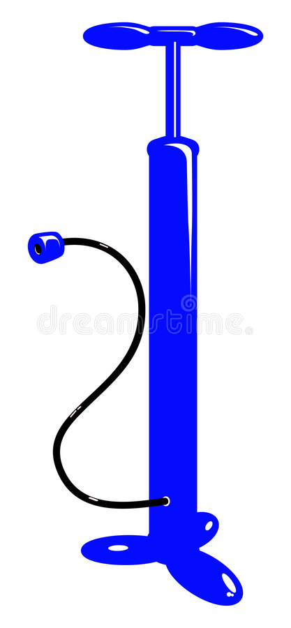 Vector bicycle blue air pump royalty free stock photo