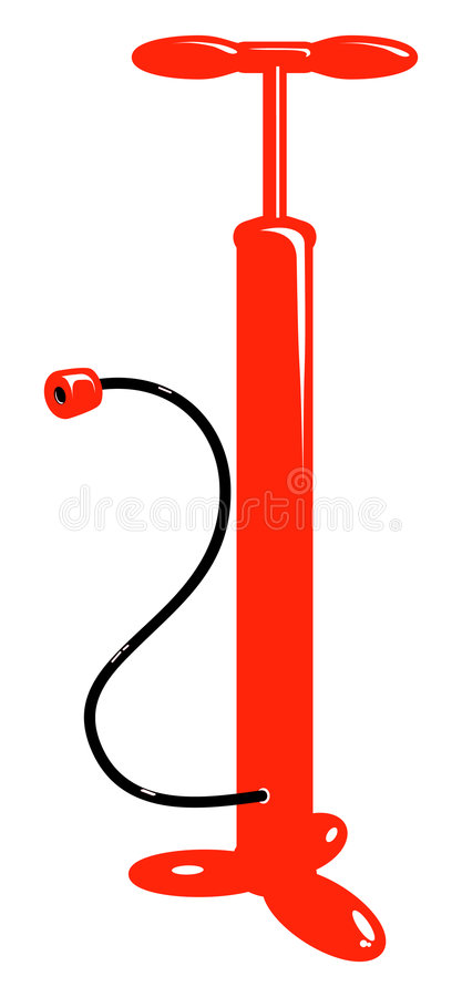 Vector bicycle red air pump stock image