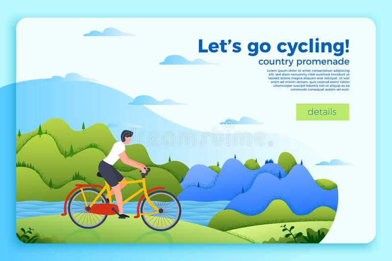 Vector bicycle ride banner with man on a bike royalty free illustration