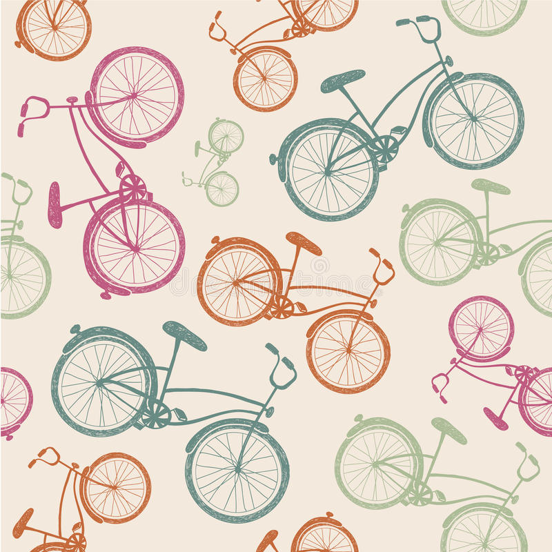 Vector bicycle texture, hipster background. Vector retro vintage bicycle texture, hipster background royalty free illustration