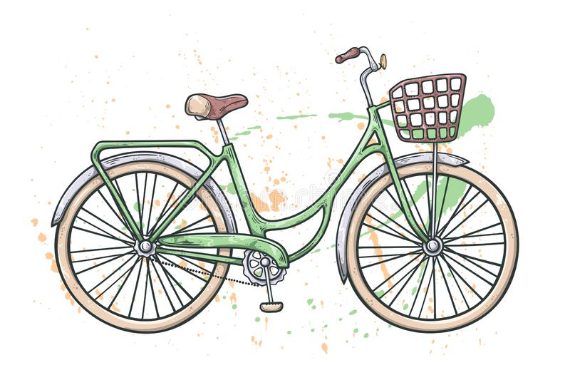 Vector bicycle in vintage style. Watercolor texture on the background stock illustration