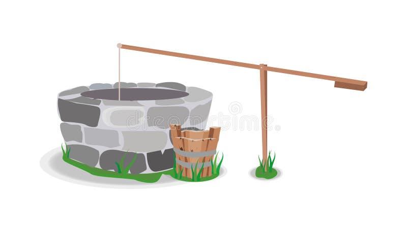Vector bien de la hierba de la piedra del agua del cubo del árbol ilustración del vector