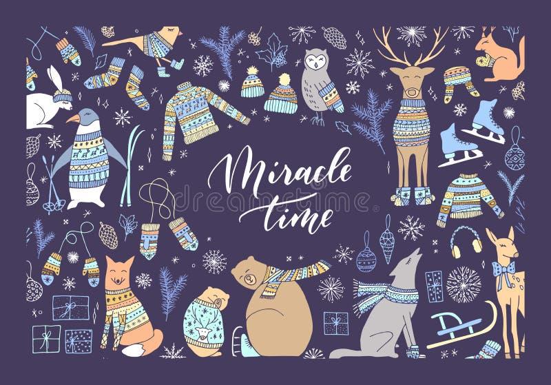 Christmas animal card. royalty free illustration