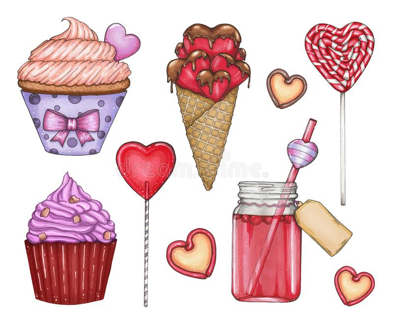 Vector big collection with sweets by St. Valentine`s Day vector illustration