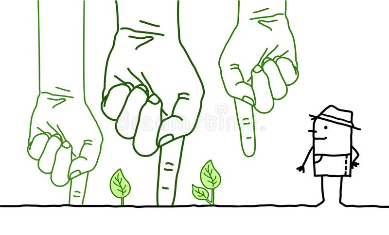 Big Green Hands with Cartoon Character - Planting vector illustration