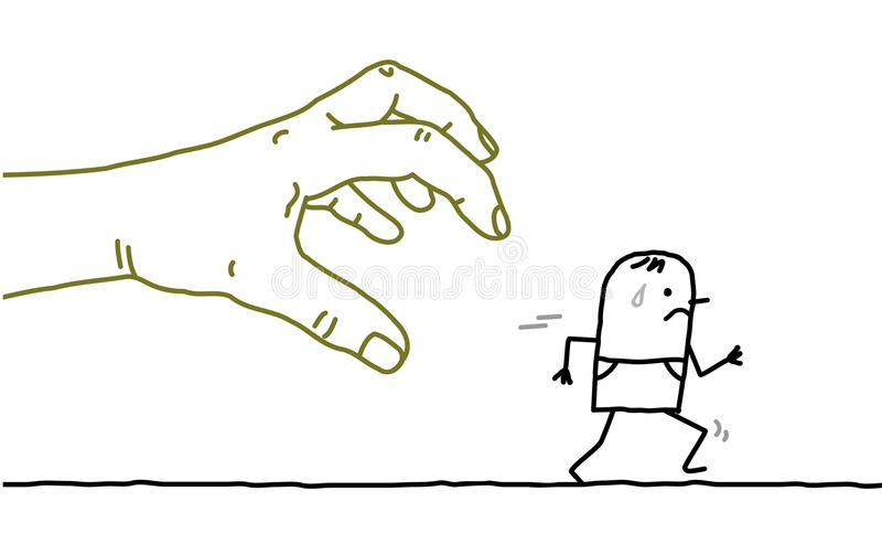 Big Hand with Cartoon Character - Catching and Running. Vector Big Hand with Cartoon Character - Catching and Running stock illustration