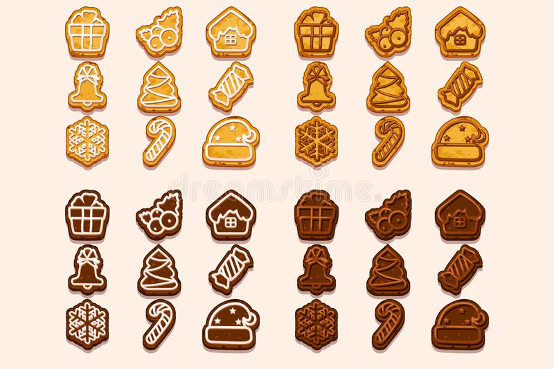 Vector big set Christmas and New Year chocolate and biscuit cookies, holiday symbols icons. Cartoon vector baking for vector illustration