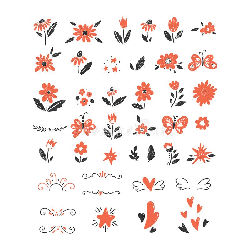 Vector big set of colorful clipart isolated on white. Vector big set of clipart. Flowers, butterflies, stars, hearts, leaves, branches isolated and easy to use royalty free illustration