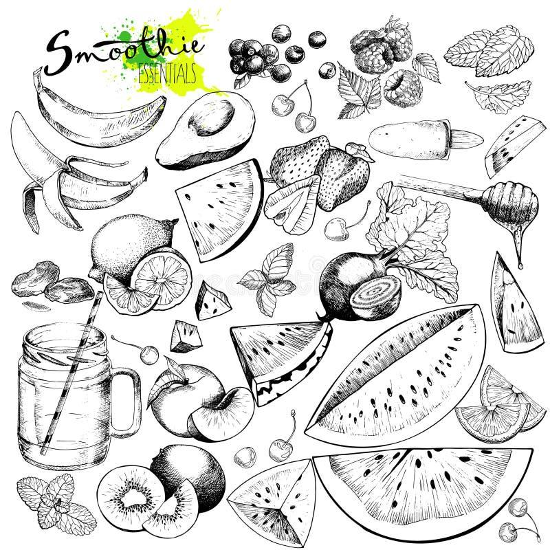 Vector big set of fruits and vegetables for detox smoothie. Hand drawn engraved monochrome elements. Use for restaurant, menu, ingredients, design, package vector illustration