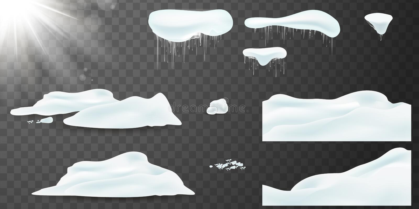 Vector Big set of realistic snow caps, snow, snowball, pile, icicles, snowdrift. Christmas snow, white elements, holiday stock illustration
