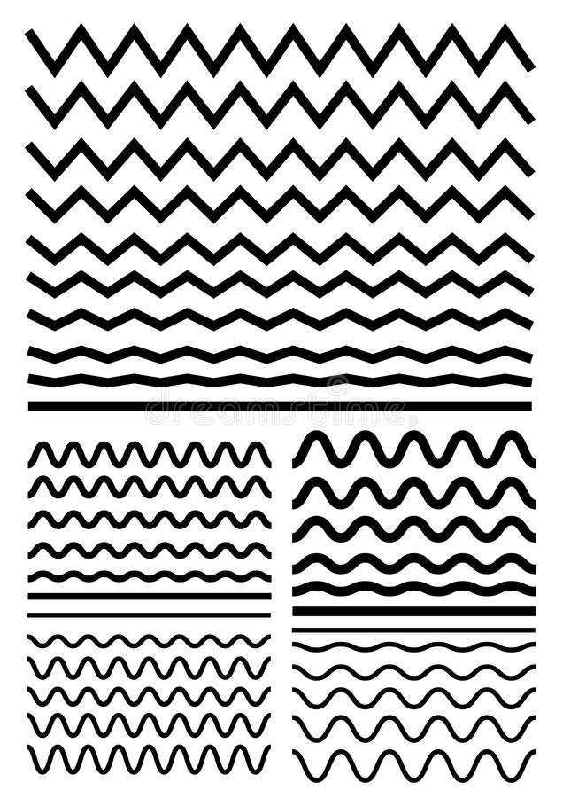 Vector big set of seamless wavy - curvy and zigzag - criss cross. Horizontal thick lines. Graphic design elements variation zigzag and wave line borders vector illustration