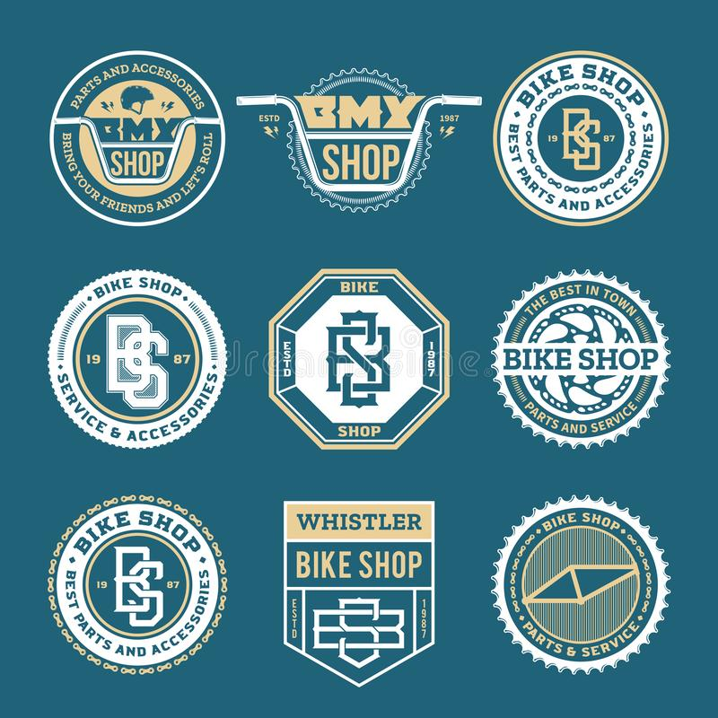 Vector bike shop, bicycle part and service logo vector illustration