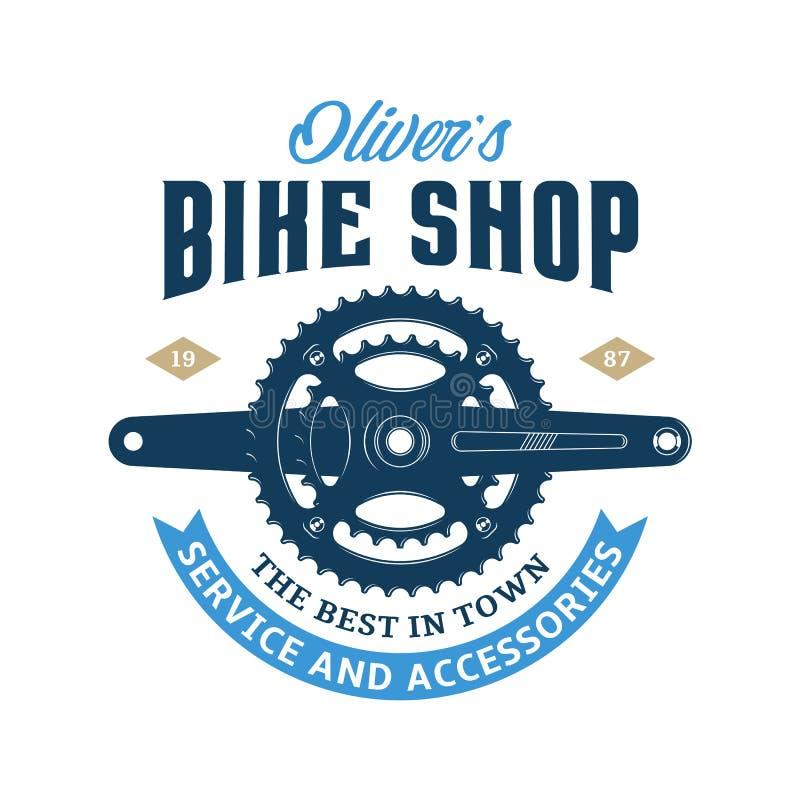 Vector bike shop logo. Vector bike shop, bicycle accessories and service logo vector illustration