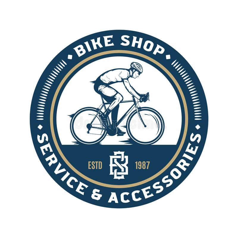 Vector bike shop logo. Vector bike shop, bicycle accessories and service logo stock illustration
