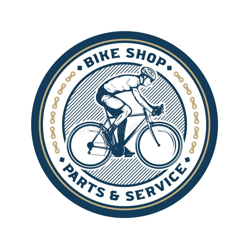Vector bike shop logo. Vector bike shop, bicycle accessories and service logo royalty free illustration