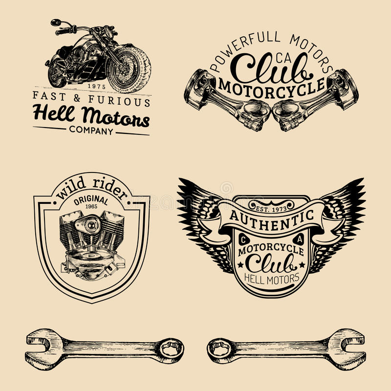Vector biker club signs. Motorcycle repair logos set. Retro hand sketched garage labels. Custom chopper store emblems. stock illustration