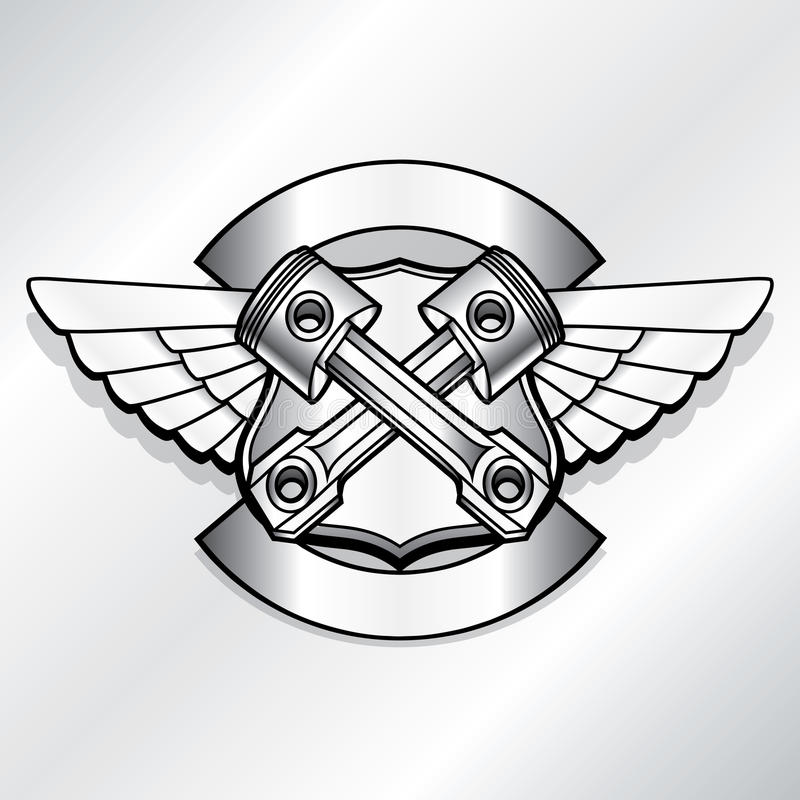Vector biker logo illustration. Motor club piston royalty free illustration