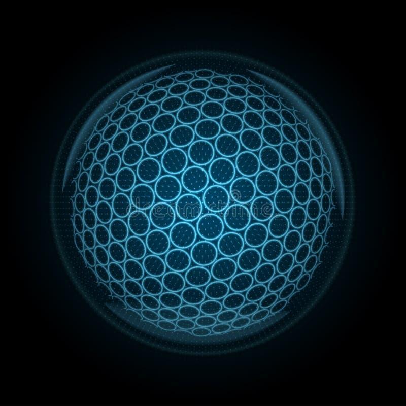 Vector Bild eines Golfballs, der von glühenden Linien und von Punkten hergestellt wird lizenzfreie abbildung