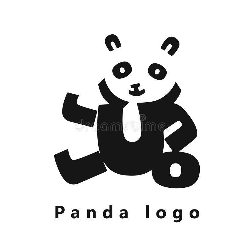 Vector Bild eines netten Pandas, der von den gotischen Schriften auf einem weißen Hintergrund gemacht wird Pandalogo lizenzfreie abbildung