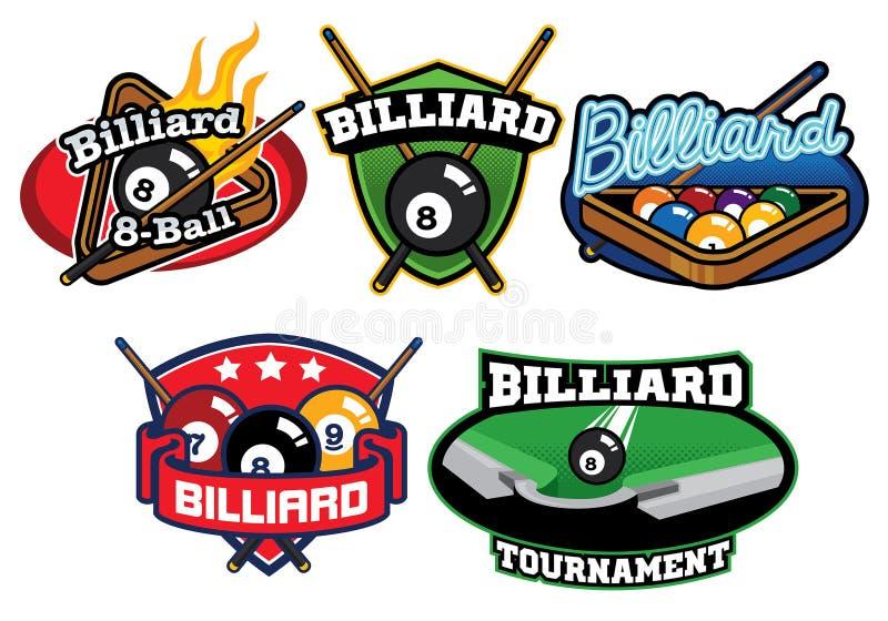 Billiard badge design set. Vector of Billiard badge design set stock illustration