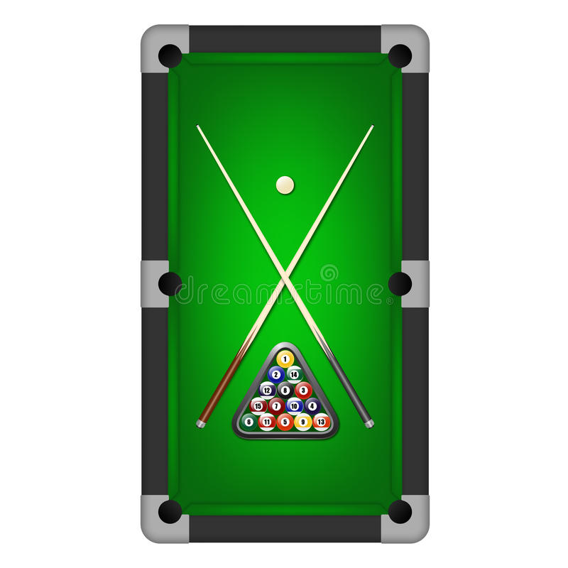 Vector billiards balls, triangle and two cues on a pool table. Billiards balls, triangle and two cues on a pool table. Vector EPS10 illustration stock illustration
