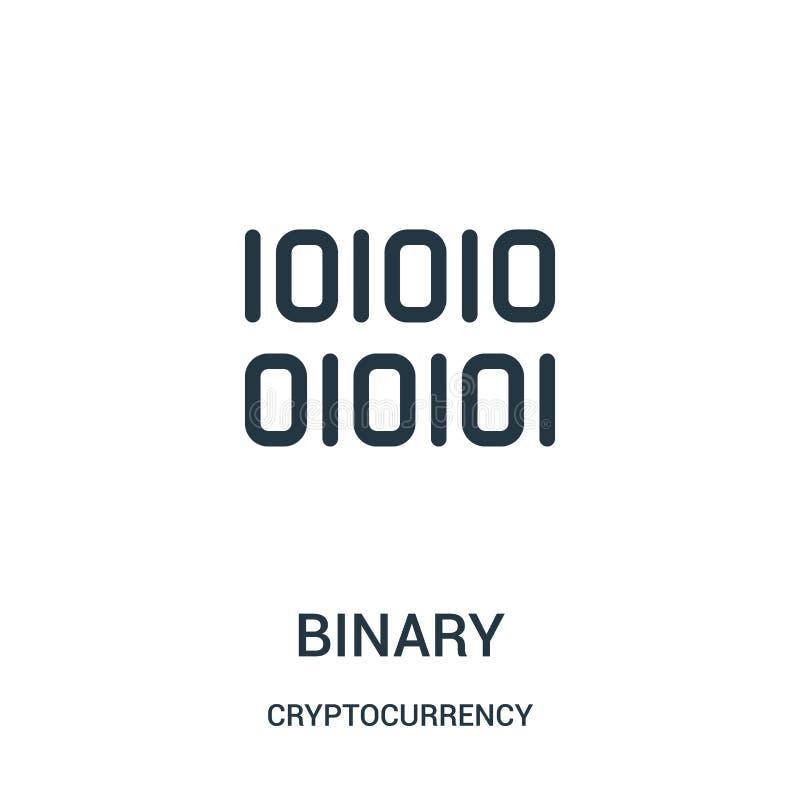 vector binario del icono de la colección del cryptocurrency Línea fina ejemplo binario del vector del icono del esquema libre illustration