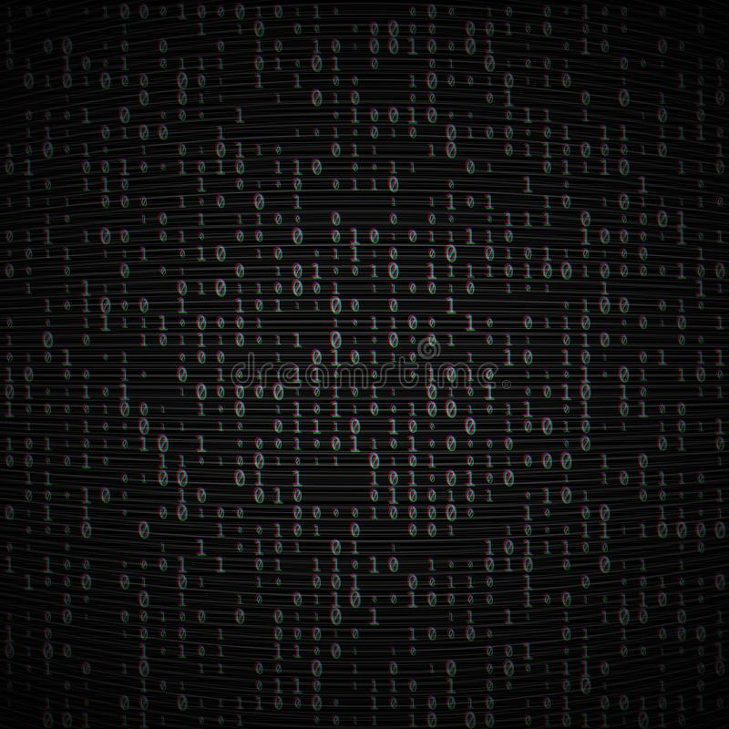 Vector binary code dark background. Big data and programming, hacking, decryption, encryption, computer numbers 1,0. Coding vector illustration