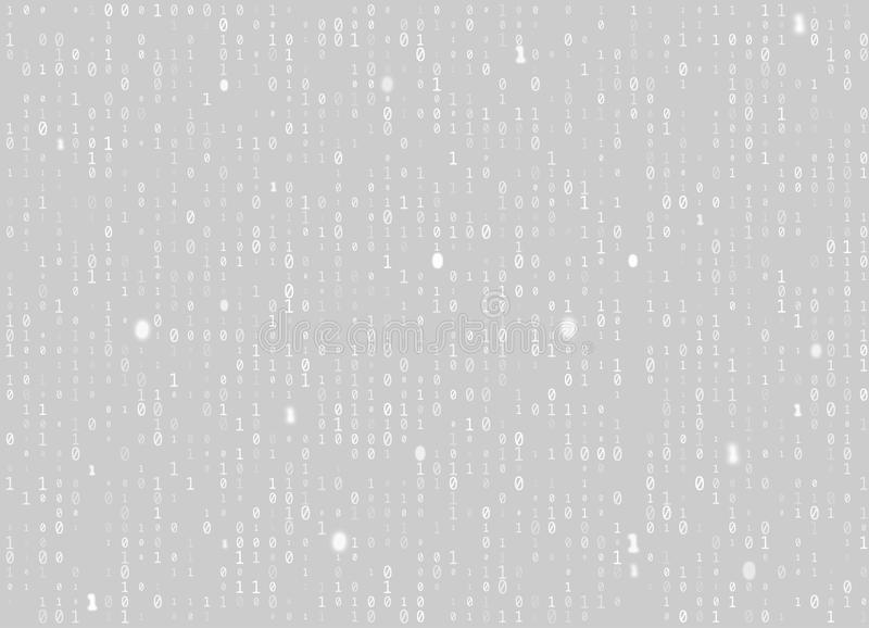 Vector binary code gray seamless background. Big data and programming hacking, decryption and encryption, computer streaming white royalty free illustration