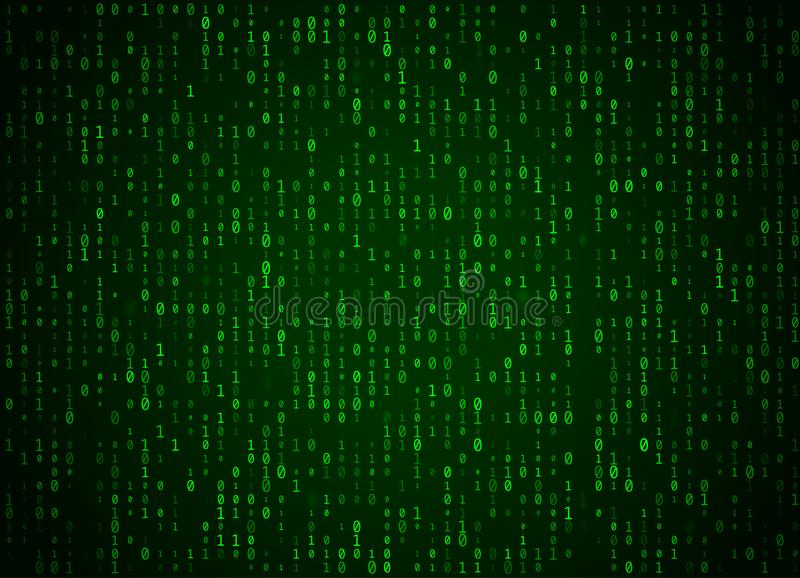 Vector binary code green background. Big data and programming hacking, deep decryption and encryption, computer streaming numbers. 1,0. Coding or Hacker concept vector illustration