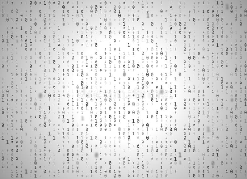 Vector binary code white background. Big data and programming hacking, decryption and encryption, computer streaming black numbers vector illustration