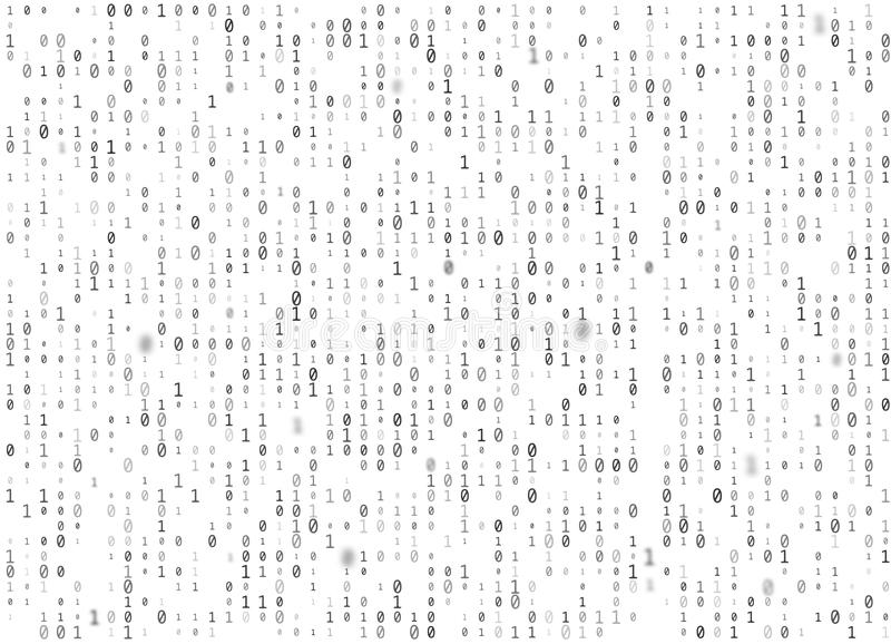 Vector binary code white seamless background. Big data and programming hacking, decryption and encryption, computer streaming royalty free illustration